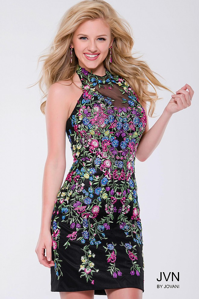 Multi Color Floral Embellished Form Fitting Short Dress JVN41433