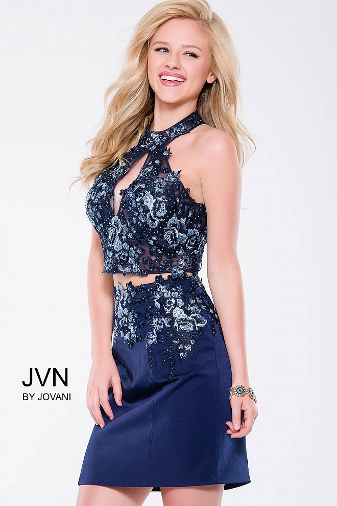 Navy Embellished Fitted Two-Piece Short Dress JVN41469