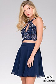 Navy Sleeveless Two-Piece Short Dress JVN41476