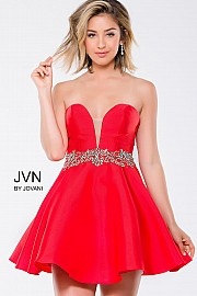 Red Taffeta Strapless Fit and Flare Short Dress JVN41495