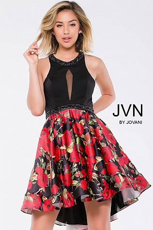 Multi Floral Fit and Flare Sleeveless Short Dress JVN41523