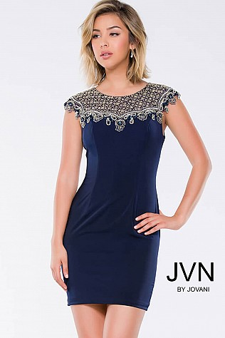 Navy Jersey Cap Sleeve Fitted Short Dress JVN41533