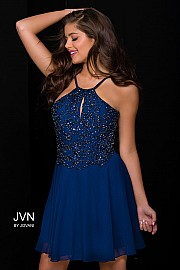 Navy Embellished Chiffon Fit and Flare Short Dress JVN41683