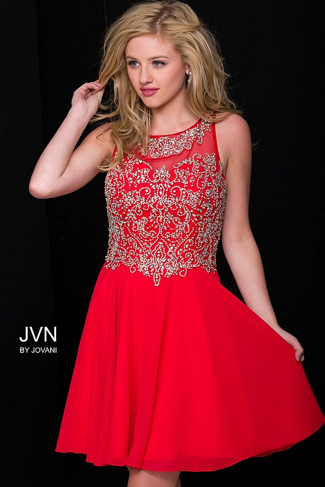 Red Embellished Chiffon Short Dress JVN41689