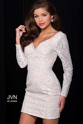 Ivory Nude Long Sleeve Embellished Dress JVN41692