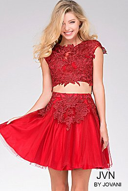 Red Cap Sleeve Fit and Flare Dress JVN41773