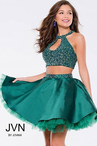 Green Beaded Two-Piece Fit and Flare Short Dress JVN41910