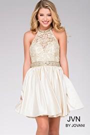 Light Gold Fit and Flare Halter Dress JVN42090