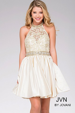 Light Gold Fit and Flare Halter Dress JVN42090