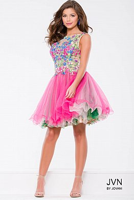 Multi Color Flower Embroidery Fit and Flare Short Dress JVN42887