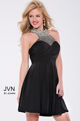 Black Mesh High Beaded Neck Short Dress JVN42589