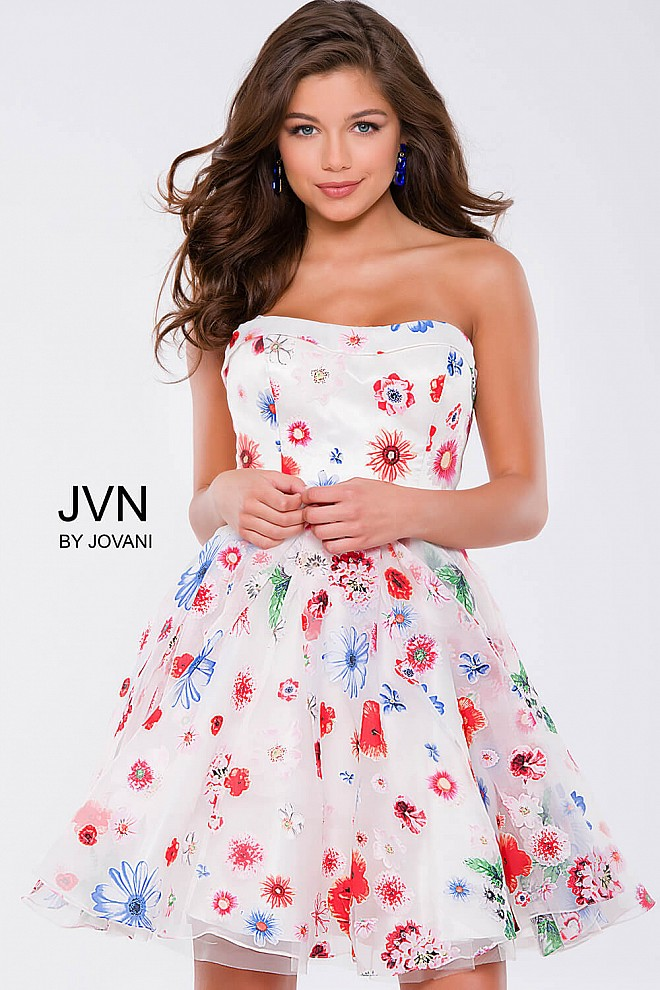 Multi Floral Fit and Flare Short Dress JVN42649