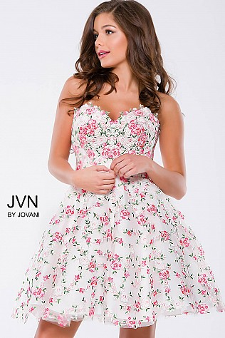 White Floral Fit and Flare Strapless Short Dress JVN45260