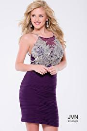 Jvn Purple Fitted Beaded Bodice Short Dress JVN45270