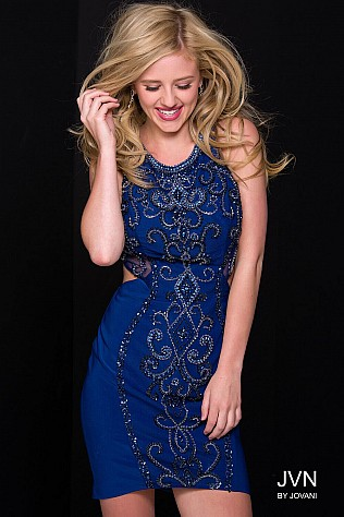 Navy Fitted Embellished Sexy Short Dress JVN45582