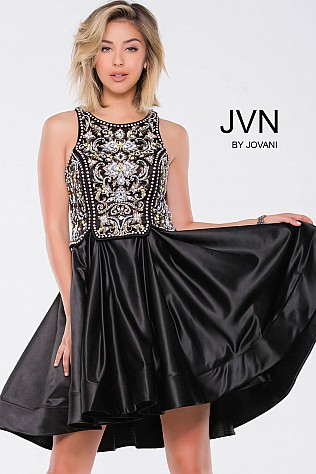 Black Embellished Satin Fit and Flare Short Dress JVN45585