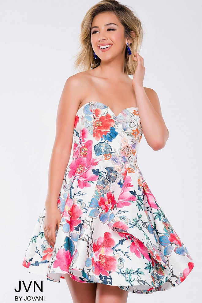 Multi Floral Fit and Flare Strapless Short Dress JVN45669