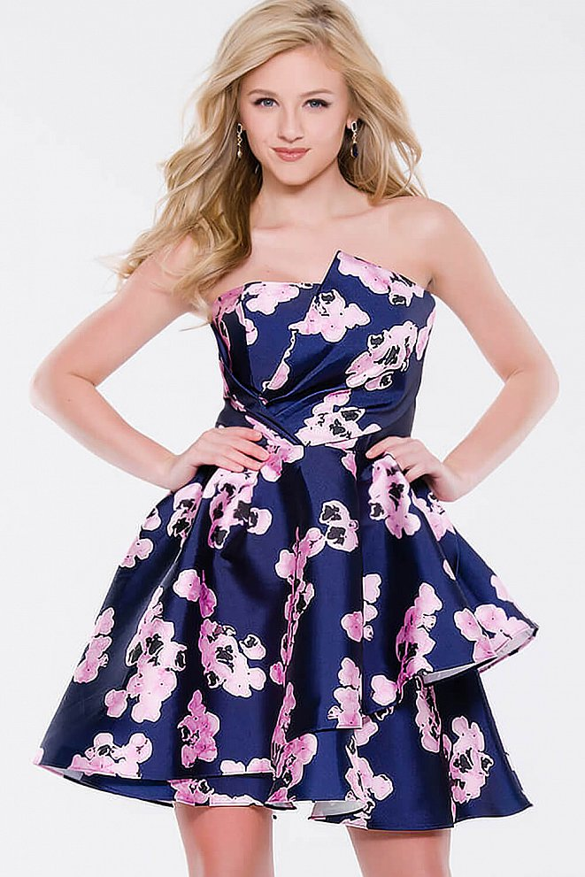 Multi Satin Strapless Fit and Flare Short Dress JVN45681