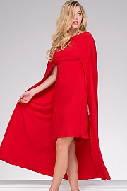 Red Jersey Cape Cocktail Dress JVN46626