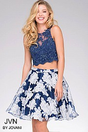 Jvn Blue Print Two Piece Short Dress JVN47032