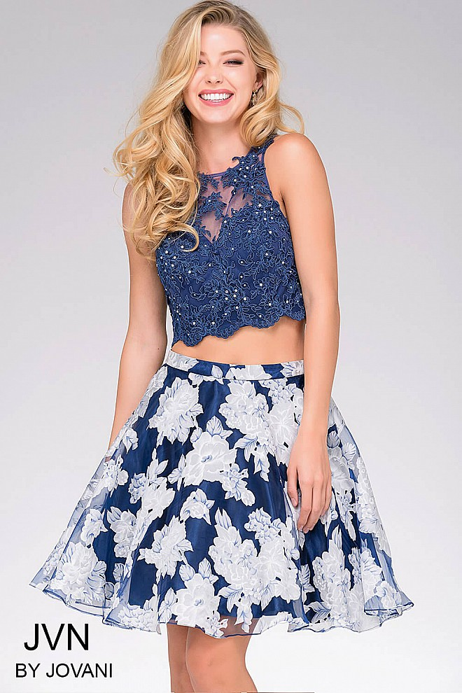 Blue Print Two Piece Short Dress JVN47032