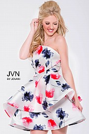 Print Strapless Fit and Flare Short Dress JVN47140