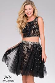 black Lace Bodice Two Piece JVN47169