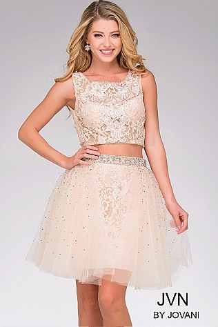 Blush Nude Open Back Two-Piece Dress JVN47169