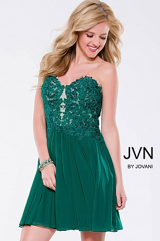 Green Strapless Embellished Fit and Flare Mesh Short Dress JVN47312