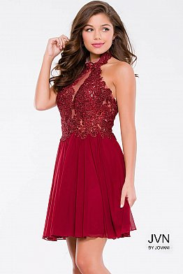 Burgundy Halter Neck Embellished Mesh Short Dress JVN47314