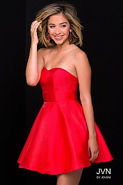 Red Taffeta Fit and Flare Strapless Short Dress JVN47317
