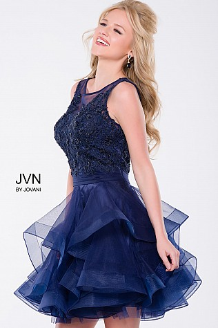 Navy Sleeveless Tiered Short Dress JVN47388