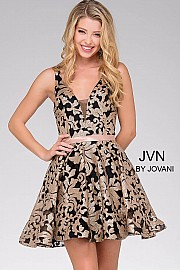 Ivory Fit and Flare Low V-Neck Short Dress JVN47506