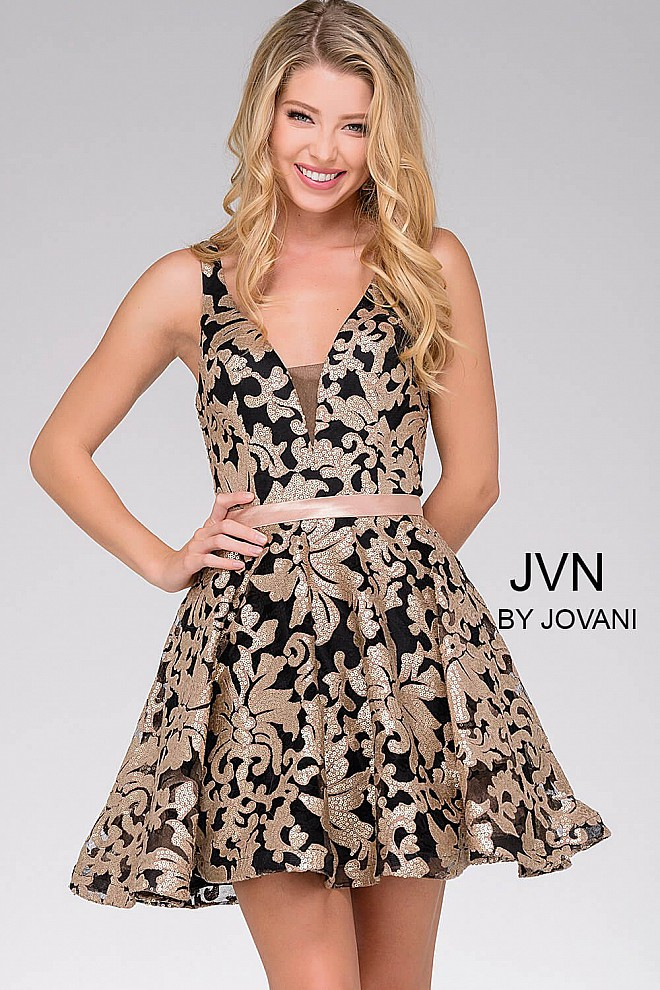 Black and Gold Sleeveless Fit and Flare Dress JVN47506