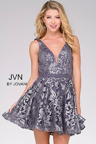 Grey Fit and Flare V Neck Short Dress JVN47506
