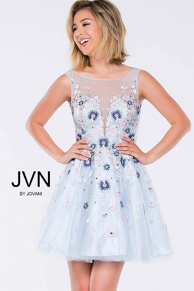 Blue Floral Apllique Fit and Flare Short Dress JVN47793