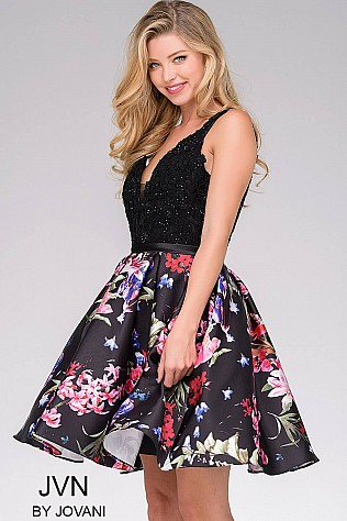 Black Print Backless Floral Dress JVN47923