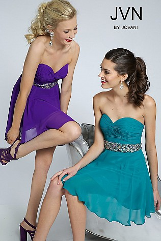 Strapless Chiffon Short Dress JVN90088