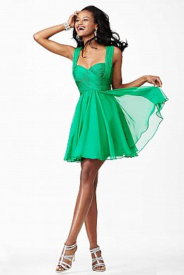 Green Chiffon Cocktail Dress JVN94200
