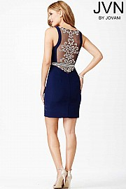 Blue Fitted Sleeveless Dress JVN27604