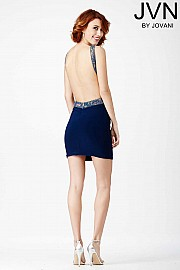 Navy Plunging Back Dress JVN27816
