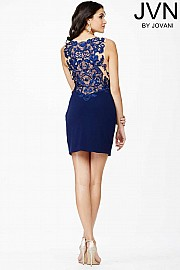 Navy Plunging Neckline Dress JVN28230