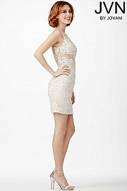 Ivory Sleeveless Cocktail Dress JVN31437