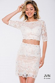 White Lace Two Piece Fitted Short Sleeve Short Dress JVN26704