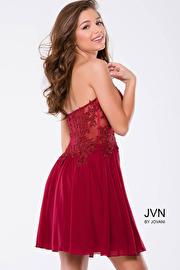 Green Strapless Lace Mesh Short Dress JVN35000