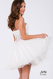 White Floral Embellished Fit and Flare Strapless Short Dress JVN40998