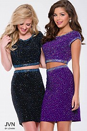 Purple Beaded Two Piece Cap Sleeve Short Dress JVN41343