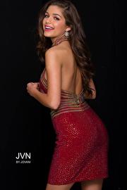 Burgundy Beaded Two-Piece Jersey Short Dress JVN41344