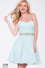 Blue Lace Strapless Sweetheart Fit and Flare Short Dress JVN41423