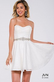 White Strapless Sweetheart Fit and Flare Short Dress JVN41423